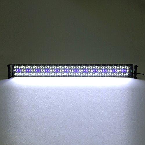 Amzdeal® Illuminazione Acquario Lampada Acquario SMD adatta Acquario di 95-115 cm, 120 led Bianco e 24 led Blu, non impermeabile