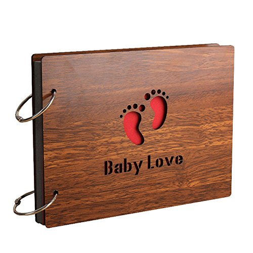 Sehaz Artworks 'BabyLove' Wood Pasted Photo Album (22 cm x 16 cm x 4 cm, Brown)
