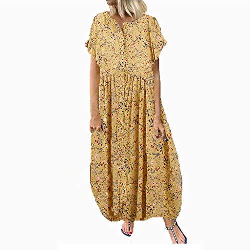 Womens Floral Print Kleid O Neck Kurzarm Boho Swing Kleider lange Smaragd Flower Print (Großhandel Womens Kleider)