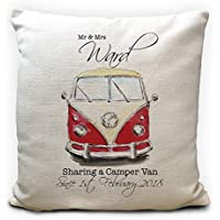 Personalised VW Camper Van Wedding Cushion Cover, Pillow Case 40cm 16 inches