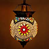 #6: Earthenmetal Handcrafted Mosaic Decorated White Glass Hanging Light