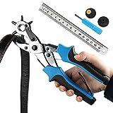 Cinturón agujero perforadora, ballery profesional resistente alicate Sacabocados para piel 2.0-4,5mm, azul