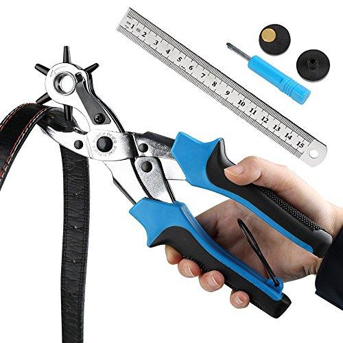 Ballery Lochzange Gürtel, Locher Revolverlochzange Zange Hochstrapazierfähiges Leder - locherwerkzeug für Leder-Gürtel, Papier, Uhrenarmband - 2mm, 2,5mm, 3mm, 3,5mm, 4mm und 4,5mm -