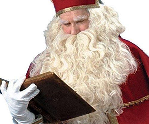 Faschingsfete Exclusiver Rauschebart- Weihnachtsmann Bart mit Perücke- handgefertigt, Natur