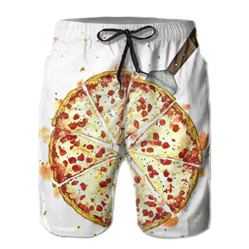 guolinadeou Pizza Men's Beach Shorts Casual Classic Printing Quick Dry Swim Trunks with Pockets M