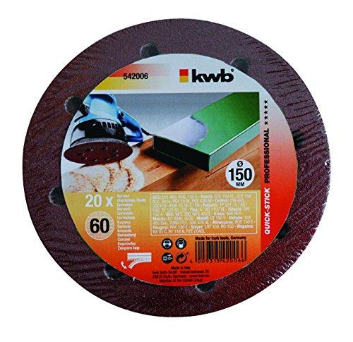 KWB Quick-Stick Schleifscheiben, Holz und Metall, selbsthaftend, Durchmesser 150 mm, gelocht, 5420-06