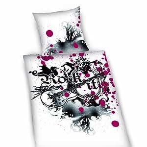 herding 445919050 housse de couette rock it 135x200 cm taie d 39 oreiller 80x80 cm linon amazon. Black Bedroom Furniture Sets. Home Design Ideas