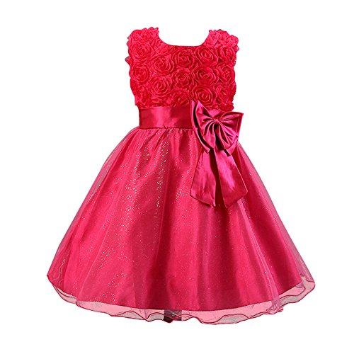 Free Fisher Baby/Kinder Mädchen 'Blumen'-Kleid Festlich, Pink, Gr. 134/140( Herstellergröße: 140)