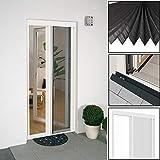 Easy Life Insektenschutz Alu Plissee Tür 120 x 240 cm in weiß Premium Fliegengitter-Tür mit stabilem Alurahmen individuell kürzbare Insektentür mit Gewebe in Plisseeform