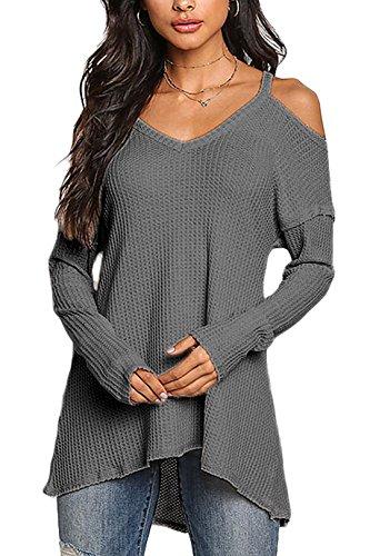 YOINS Femmes Pull Sweater Col V en Tricot Épaules dénudées Pullover Top Blouse Chemise Manche Longue Chandail Lâche Gris Foncé S