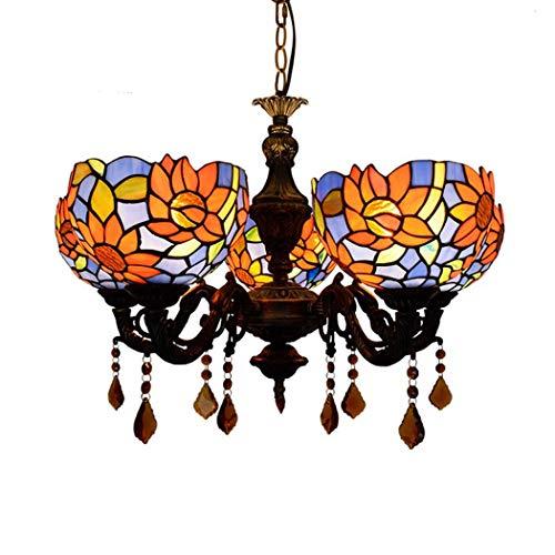 Candelabros de estilo múltiple de Tiffany Lámparas de techo con vidrio de...