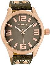 Oozoo XXL Damenuhr mit Lederband - C4989 - Rose/Dunkelbraun