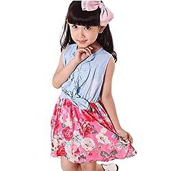 Covermason Baby Girls Toddler Kids Denim Splice Bowknot Floral Print Sleeveless Princess Party Dresses