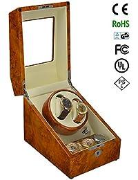 jianbo Automático Caja para Relojes Watch Winder 2 + 3 Watch Display Marco de la Decoración de Lujo, 5 modos de temporizador Motor Silencioso Premium GC03-S24BB , Yellow