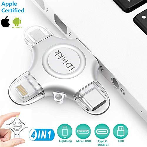 MFi Zertifiziert 256GB USB Stick für iPhone Externer Speicher Flash Drive,iDiskk 4 IN 1 Speichererweiterung Speicherstick 3.0 Kompatibel mit iPad,iPhone X/XR/XS,New iPad Pro Type C Devices and PC