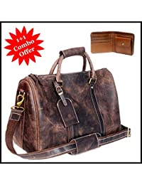 Zakara Combo Set Of Vintage Leather Travel Gym Bag And Wallet