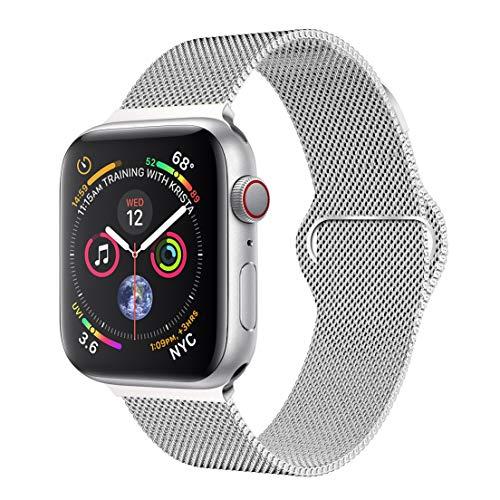 Für Apple Watch Armband 42mm/44mm, Milanese iwatch Uhrenarmband Series 4/3/2/1, 42mm/44mm S (5.51zoll-7.48zoll), Silber