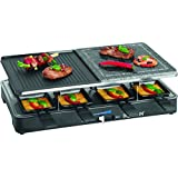 Bomann RG 2279 CB - Raclette grill con piedra natural y placa reversible, 8 personas, 1400 W