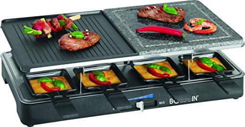 Bomann-RG2279CB-Raclette-grill-con-piedra-natural-y-placa-reversible-8-personas-1400-W-color-azul