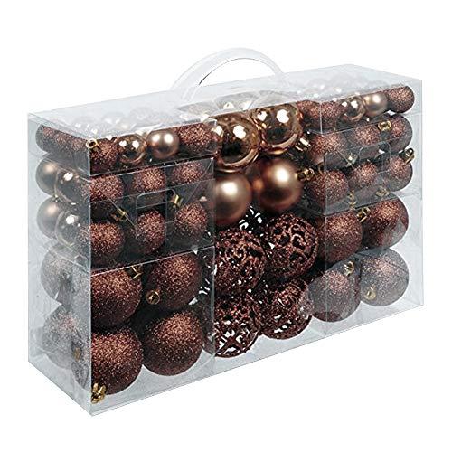 Bakaji christmas set 100 palline di natale colore bronzo misure 3/4/6 cm decorazioni addobbi palle albero