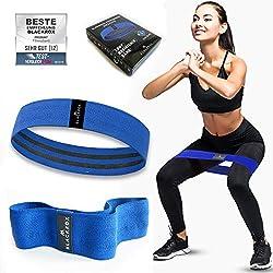 BLACKROX Fitnessbänder Loop Band - Fitnessband Starkes und breites Band aus Stoff rutschfest Widerstandsbänder für Intensive Workouts für Bodybuilding, Fitness Damen und Herren (BLAU-L)
