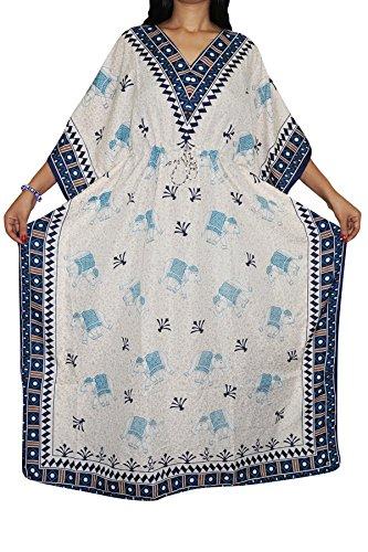 Indiatrendzs Women's Animal Print White Kimono Sleeve Viscose Sleepwear Kaftan Dress Chest : 56  available at amazon for Rs.396