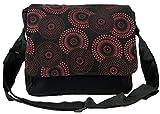 Guru-Shop Schultertasche, Hippie Tasche, Goa Tasche Schwarz-braun, Herren/Damen, Baumwolle, Size:One Size, 28x33x10 cm, Alternative Umhängetasche, Handtasche aus Stoff
