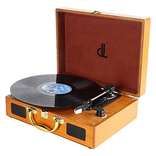 Plattenspieler dl Record Player mit 3 Geschwindigkeiten 33/45/78 Tragbarer Vintage Holz Koffer Plattenspieler mit Stereo-Lautsprechern, PC-Recorder, 3.5mm,RCA/AUX Vinyl Turntable