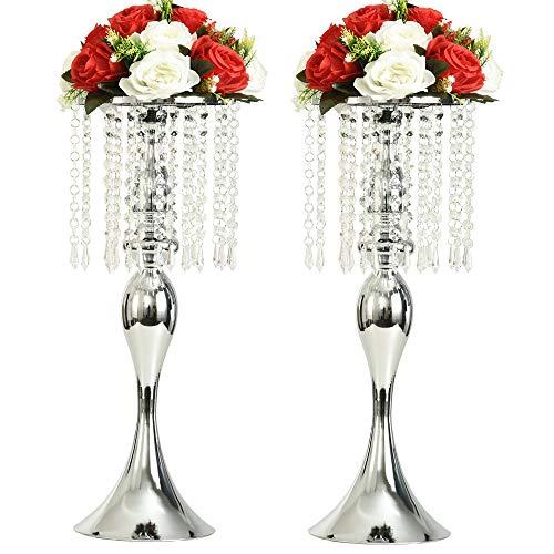 LANLONG 2 Stück Acryl Imitation Kristall Kerzenhalter Ständer Gold/Silber Blume Vase Hochzeit Tafelaufsatz Blei-Road Kerzenständer für Hochzeit Event Dekoration 21.25