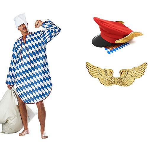 Panelize EIN Engel im Himmel Münchner Dienstmann Kostüm mit Flügeln Hut und Nachthemd - Himmel Engel Kostüm