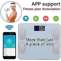 Amerzam Wireless Bluetooth peso Digital & Bilancia elettronica/Fat prova Display LCD, per Samsung iPhone & & iOS/Android