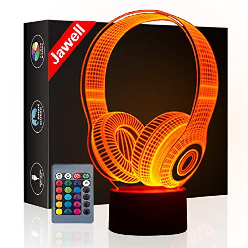 Christmas Gift Headset 3D Illusion Lamp Night Light Beside Table Lamp, Jawell 16 Colors Auto Changing Touch Switch Desk Decoration Lamps Birthday Present with Acrylic Flat & ABS Base & USB Cable.