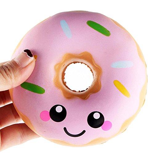VENMO 11cm Schöner Donut Cremefarbener Squishy Langsam steigende Squeeze-Spielzeug-Sammlung Squishy Spielzeug Langsam Rising Soft Squeeze Spielzeug Stress Relief Dekompression Spielzeug (Pink)