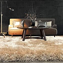 Modern Style Rugs Super Plush Soft Touch Floor Fluffy Shaggy Rug - Chunky Pile - Home Living Room Accessories - 100% Polyester (9cm Sand, 160x230cm)