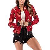 Rosennie Damen Mode Lange Ärmel Spitze Blazer Anzug Beiläufig Jacke Mantel Herbst Winter Langram Bluse Outerwear(Rot B,M)