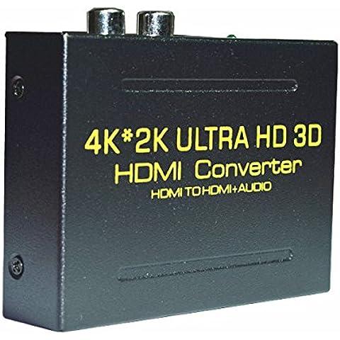 4K x 2K HDMI a HDMI y óptica Toslink SPDIF + R/L) extractor de audio analógico convertidor HDMI adaptador divisor de Audio (entrada HDMI, HDMI + Digital/salida de audio analógico),
