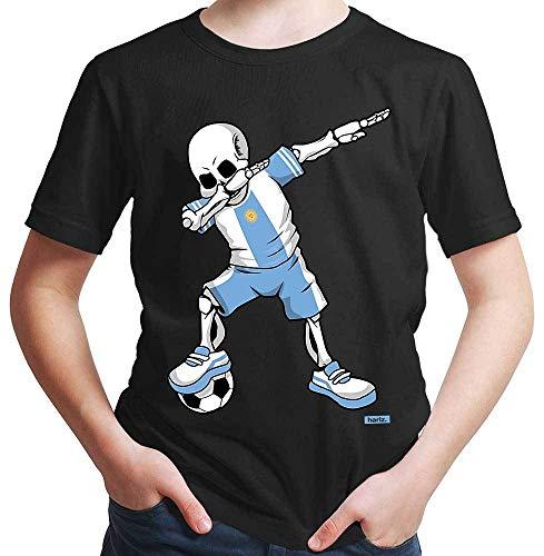Für Argentinien Kostüm Jungen - HARIZ Jungen T-Shirt Fussball Dab Skelett Argentinien Trikot Mannschaft Plus Geschenkkarten Schwarz 164/14-15 Jahre