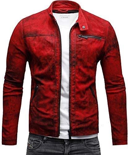 CRONE Epic Herren Lederjacke Cleane Leichte Basic Jacke aus weichem Wildleder (M, Vintage Rot) Schwarz Rot Jacke