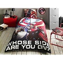 Capitán América tamaño individual juego de ropa de cama 100% algodón Original producto con licencia y con funda de edredón, sábana bajera y funda de almohada