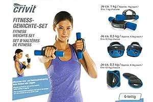CrivitSports® 6-teilige Fitness Gewichte Set (Blau) (Grau/Blau)
