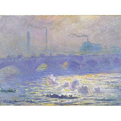 Claude Monet Waterloo Bridge Art Print Canvas Premium Wall Decor Poster Mural Wasser Brücke Wand Deko