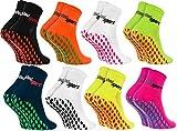 Rainbow Socks - Damen Herren Neon Sneaker Sport Stoppersocken - 8 Paar - Mehrfarbig - Größen: EU 39-41