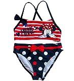 Minnie Mouse Bademode Kollektion 2018 Bikini 92 98 104 110 116 122 128 Schwimmbekleidung 2-Teiler (Blau-Rot, 92-98)