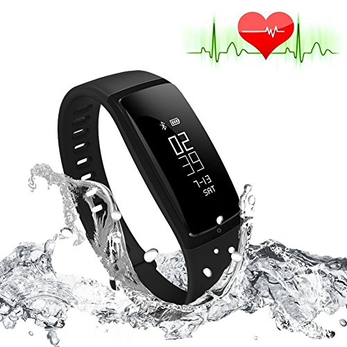 RIVERSONG®Fitness Tracker Heart Rate Monitor Blood Pressure Bracelet Sedentary Reminding Sleep Management Alarm SNS Call Reminder Pedometer Sport Activity Healthy Wristband with OLED Touch Screen Smart Watch for Android iOS Smartphones (BLACK)