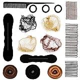 Dance Fairy kit d'accessoires de Coiffure ensemble, Outils de Cheveux Coiffure Stylisée Accessoire Cheveux Filles Eponge en Mousse Clip à Chignon Tresse Bun Maker Cheveux filets invisible élastique