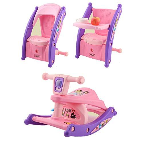 Serface Schaukelpferd & Essstuhl Baby 3 in 1 Multifunktion mit Beleuchtungs- und Musiksystem | Schaukeltier Babystuhl Schaukelstuhl Kinder (63 X 38.5 X 39cm) (Kinder Schaukelstuhl Wippe)
