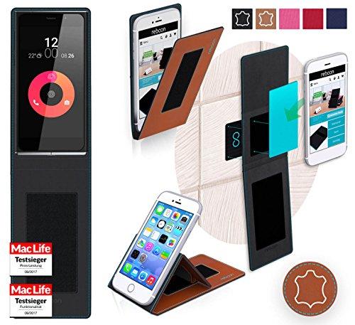 reboon Hülle für Obi Worldphone SF1 Tasche Cover Case Bumper | Braun Leder | Testsieger
