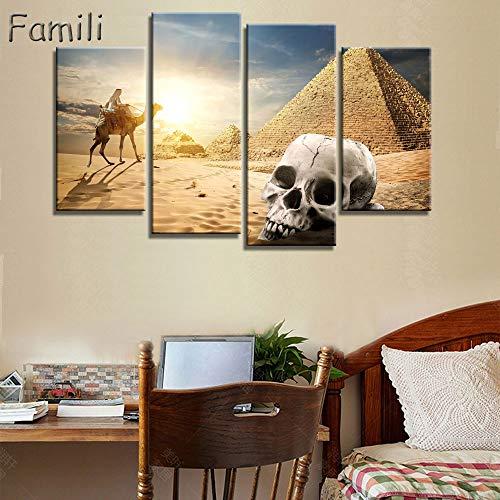 4 teilesatz Kunst Ägypten Pyramiden Kamel Druck Leinwand Ölgemälde Und Wandbilder für Wohnzimmer Top Wand-dekor Tier Poster-L -