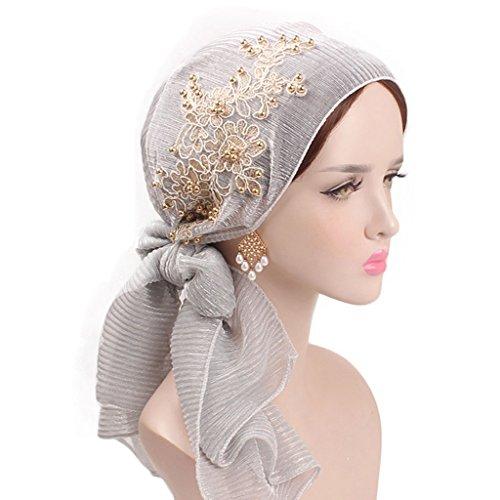 Lergo Frauen Muslim Floral Schal Hat Stretch Turban Langem Schwanz mit Kopfbedeckungen Cancer Elastisch Gap Plissiert, Grau