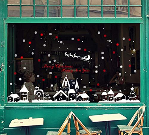 Wandaufklebern Restaurant Mall Dekoration Schneeflocke Weiße Stadt Shop Fenster Aus Glas Abnehmbaren Aufkleber ()